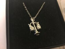 """Libra Scales TG603 Pewter On 24"""" Silver Plated Curb Necklace"""