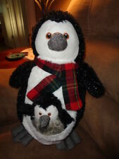 Penguin with Baby in Pouch Pier 1 Imports Stuffed Plush Plaid Christmas Scarf