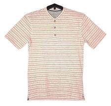 Hombre Resistente a la Intemperie Vintage Rayas Henley Camiseta L