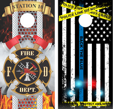 Police and Fireman Set Cornhole Board Skin Wrap Decal Set of 2 with Lamination