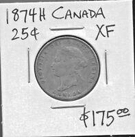 CANADA - FANTASTIC HISTORICAL QV SILVER 25 CENTS, 1874 H, KM# 5