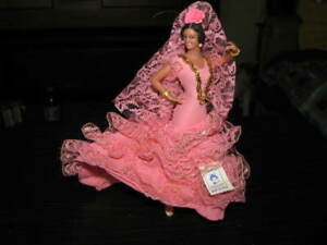 """Marin Chiclana Spanish Flamenco Dancer ORIGINAL TAG 8"""" Inches Tall Pink Gown"""