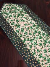 Handcrafted-Quilted Table Runner-St. Patrick's Day - Shamrocks - Follow the Gold
