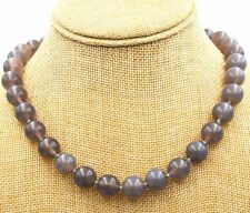 "12mm Natural gray Onyx Agate Gems Necklace 18"" Tibetan silver love clasps JN259"