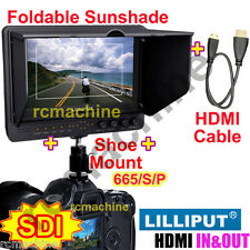 "Lilliput 7"" 665/S/P HD-SDI Peaking Focus HDMI In & Out Monitor+Hot shoe stand"