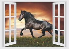 Horse & Sunset Window View Color Wall Sticker Wall Mural Print