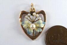 PRETTY ANTIQUE ART NOUVEAU 14K GOLD ENAMEL PEARL HEART PENDANT c1900