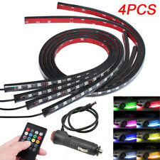 4PC LED RGB Neon Strip Car interior lights Underglow Underbody Glow control Set