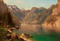 View of the Königssee by  Adolf Chwala 75cm x 51.5cm Canvas Print