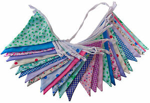 Double Sided Fabric Bunting Weddings Christenings Birthdays Fetes Floral Chic