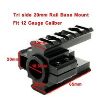 Hunting Side 20mm Tri-Rail Scope Mount Base Fit 12 Gauge Caliber Rifle Pistol