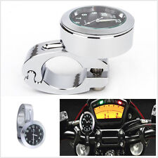 "Universal 7/8"" to 1""Motorcycle Accessory Handlebar Bar Clock Watch Black Dial"