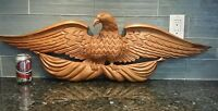 "Large American Carved Wood Standing Eagle Wall Mount 39.5"" Wide"