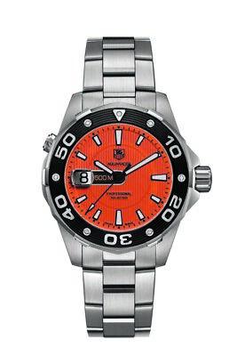 Tag Heuer Aquaracer Waj1113.ba0870 500m Diver Orange Swiss Quartz Mens Watch