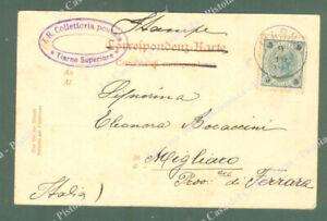 TIARNO SUPERIORE*I.R.Collettoria postale. Bollo violetto ovale su cartolina...