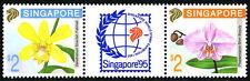 Singapore 615-616a pair/label, MNH. Orchids, 1992