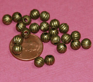 100 Round Corrugated Beads 4mm, metal spacer beads, loose beads