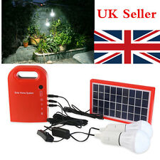 Solar Panel Power Generator LED Lighting System Kit USB Charger 2 LED Bulbs UK