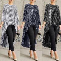 Women Long Sleeve Asymmetrical Waterfall Shirt Dot Tops High Low Plus Blouse GB