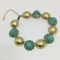 """Vintage Aqua Chunky Statement Necklace Gold Tone Flower Choker 14"""" SMALL"""