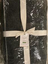 Pottery Barn Velvet Paisley Reversible Quilt F/Q Full/Queen Charcoal NEW