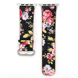 40/44mm Women iWatch Band Floral Leather Strap for Apple Watch Series 6 5 4 3 SE