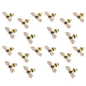 20 Pieces Bee Shape Decorative Embellishments for Hair Clips Clothing 25mm