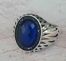 Turkish Ottoman  Sapphire Blue Gemstone 925 Sterling Silver Mens Ring Gemstone