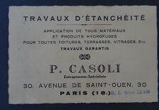 Ancienne carte de visite CASOLI Avenue de Saint-Ouen PARIS étanchéité