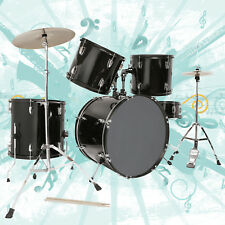 Full Size Complete Adult 5 Pieces Drum Set with Cymbals,Stool & Sticks Black