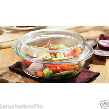 New Clear Glass 2L Litre Casserole Dish Roaster Oven Baking Roasting Bowl Lid