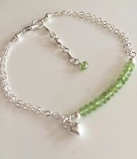 DESIGNER STERLING SILVER PERIDOT BRACELET AUGUST BIRTHSTONE GEMSTONE JEWELLERY