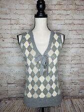 J. Crew Sontuosa Women's 100% Cashmere Gray Argyle Sweater Vest XS so soft.  /IA