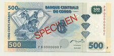Congo Dem. Rep. 500 Francs 4-1-2002 Pick 96.s UNC Uncirculated Banknote Specimen