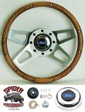 """1965-1966 Ford F-100 steering wheel BLUE OVAL 13 1/2"""" WALNUT 4 SPOKE"""
