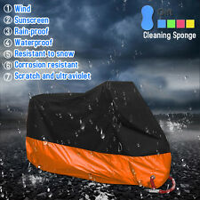 Motorcycle Cover Orange Black XXL Waterproof Bike Outdoor Rain Dust UV Protector