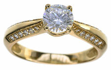 14 KT Yellow gold 1 carat Clear CZ Diamonique solitaire Ring Size 6