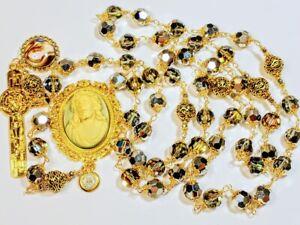 Vatican Style Reflective Diamond Silver Crystal Jesus Cameo Benedict Rosary