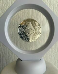 Ethereum Classic ETH Silver Gold Plated Crypto coin in 3D Floating Display Case.