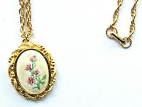 """Vintage Painted Pink Flower Pendant with gold-tone 24"""" chain necklace"""