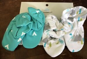 cloud island Baby Booties Socks Shoes 2 Pair Lot Teal White One Size new