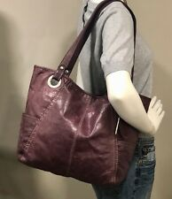 XLarge FOSSIL HATHAWAY Rich Purple Leather Tote Carryall Purse Shoulder Bag