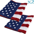 2X 3x5 ft American Flag Sewn Stripes Embroidered Stars Brass Grommets USA US