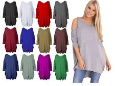New Ladies Style Cut Out Shoulder 3/4 Batwing Sleeve Baggy Curve Hem TunicDress