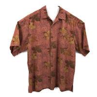 Joe Marlin Mens Hawaiian Camp Shirt Size XXL 2X Gold Rust Tones SS Side Slits