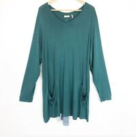 LOGO by Lori Goldstein Plus Size 3x Green  Knit Top with Color-Block Back Detail