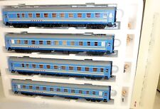 4 Large Stretch Voiture-Lit Bleu Aurora Type Ammendorf SZD H0 1:87