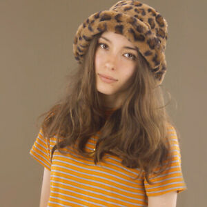 Brown Leopard Print Faux Fur Bucket Hat Fluffy Poly Lining Winter Basics SML MED
