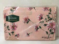 Wamsutta Lustercale Pink Upsa Daisy Floral Double Flat Sheet Vtg Nos 72 x 108