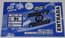 Ticket for collectors WC q Andorra - Romania * 2004 Andorra la Vella